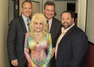 Bob Greenblatt, Chairman, NBC Entertainment, Dolly Parton, Sam Haskell, President, Magnolia Hill Entertainment through Warner Brothers Television, Danny Nozell, CTK Management (courtesy of Webster PR)