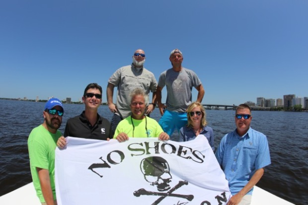 Front Row Left to Right: Captain Nathan (Seafood Kitchen Boat), Pat Murray (Coastal Conservation Association President) Captain Russell (Seafood Kitchen Boat) Kelleigh Gorski and Brian Gorski (Executive Director CCA Florida) Back Row Left to Right: Brett Palmer (AbiJack Management, Inc) and Kenny Chesney. Photo Courtesy: Kenny Chesney
