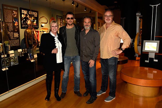 Carolyn Tate (Vice President, Museum Services, Country Music Hall of Fame and Museum), Eric Church, John Peets (Church's manager, Q Prime), and Mike Dungan (Chairman & CEO, Universal Music Nashville Entertainment) Credit: Rick Diamond/Getty Images
