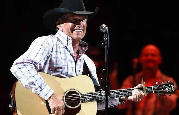 "George Strait performing at T-Mobile Arena on Friday, April 23 on opening night of ""Strait to Vegas."" Credit: Ethan Miller/Getty Images"