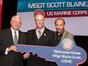 Dr. Robert Gates, 22nd Secretary of Defense, MSgt Scott Blaine, Lee Greenwood (courtesy of Webster PR)