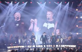 "Dierks Bentley, Eddie Montgomery, and Rascal Flatts honor Troy Gentry during one of many emotional moments Wednesday at ""The 51st Annual CMA Awards."" Photo Credit: Donn Jones/CMA"